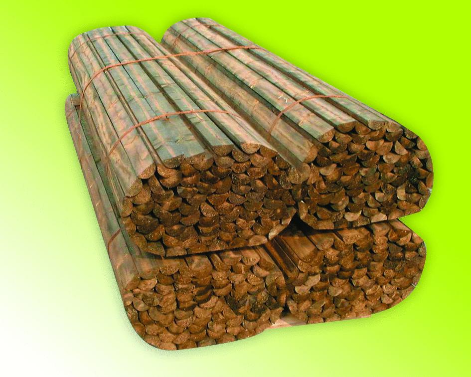 Zaunriegel gefräst, halbrund; 2,5m Länge, Stärke 70mm